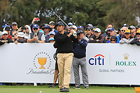 Hideki Matsuyama (International) on the 10th tee during the First Round - Four Ball of the Presidents Cup 2019, Royal Melbourne Golf Club, Melbourne, Victoria, Australia. 12/12/2019.<br /> Picture Thos Caffrey / Golffile.ie<br /> <br /> All photo usage must carry mandatory copyright credit (© Golffile | Thos Caffrey)