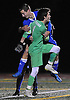 David Futterman, Calhoun goalie, front, and Ryan Elliott #2 celebrate after their team's 2-1 win over Hicksville in the Nassau County Class AA varsity boys soccer semifinals at Cold Spring Harbor High School on Monday, Oct. 31, 2016.