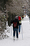 People skiing on the city sidewalk, downtown Portland, Oregon