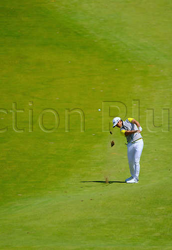 July 8th 2017, Portstewart Golf Club, Portstewart, Northern Ireland; Dubai Duty Free Irish Open Golf Championship, Day 3; Daniel Im (USA) with his second shot on the 4th during the third round of the Dubai Duty Free Irish Open; Im held 1st place until late in the 3rd round