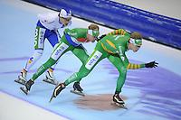 SCHAATSEN: HEERENVEEN: IJsstadion Thialf, 09-11-2012, KPN Marathon Cup, Seizoen 2012-2013, Topdivisie Heren, Niels Mesu (A3), winnaar Arjan Stroetinga (A15), Jorrit Bergsma (A13), ©foto Martin de Jong