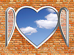 Conceptual stock photo-illustration of Blue summer sky behind an open white heart-shaped PVC window in a red brick wall Creative window system design Home renovation Construction industry Interior design Ecology Environment concept