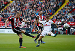 Mark Duffy of Sheffield Utd takes shot during the Carabao Cup First Round match at Bramall Lane Stadium, Sheffield. Picture date: August 9th 2017. Pic credit should read: Simon Bellis/Sportimage
