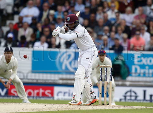 26th August 2017, Headingley, Leeds, England; International Test Match Series, Day 2; England versus West Indies; Shai Hope of the West Indies watches a ball from Ben Stokes come down the wicket
