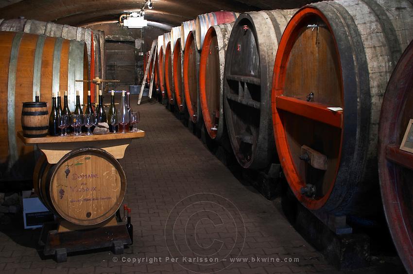wooden vats tasting room in cellar domaine du vissoux beaujolais burgundy france