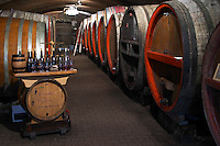 wooden vats tasting room in cellar domaine du vissoux beaujolais burgundy france