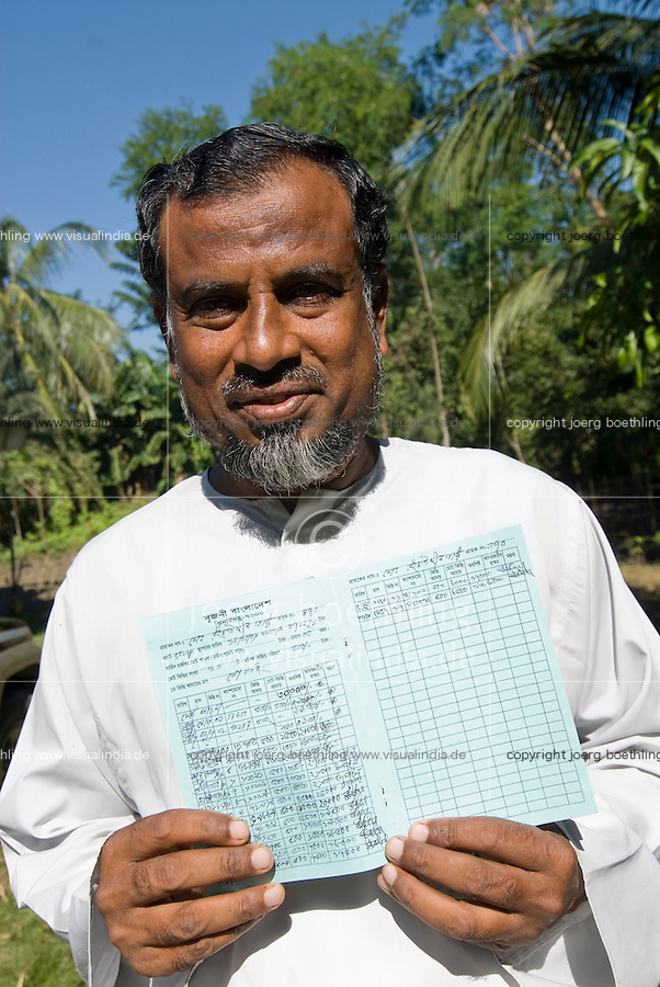 "Asien Suedasien Bangladesh , NGO Srizony und Grameen Bank installieren Solar Home Systems in Doerfern ohne Stromnetz in den Sunderbans , die Anlagen werden mit Geldern von KfW und Weltbank durch Mikrokredite finanziert   -  Eigentuemer eines SHS mit seinem Kredtibuch und den Ratenzahlungen | .South asia Bangladesh , Grameen bank and NGO Srizony install with micro-credit financed solar home systems in villages with no grid - renewable energy micro-finance rural electrification development .| [ copyright (c) Joerg Boethling / agenda , Veroeffentlichung nur gegen Honorar und Belegexemplar an / publication only with royalties and copy to:  agenda PG   Rothestr. 66   Germany D-22765 Hamburg   ph. ++49 40 391 907 14   e-mail: boethling@agenda-fototext.de   www.agenda-fototext.de   Bank: Hamburger Sparkasse  BLZ 200 505 50  Kto. 1281 120 178   IBAN: DE96 2005 0550 1281 1201 78   BIC: ""HASPDEHH"" ,  WEITERE MOTIVE ZU DIESEM THEMA SIND VORHANDEN!! MORE PICTURES ON THIS SUBJECT AVAILABLE!!  ] [#0,26,121#]"
