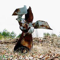 The remains of a rusting Russian bomb at a 'Bombenabwurfplatz', a former Soviet air force testing ground for explosives.  The Cold War, which formed part of the collective consciousness of post war Europe from 1945 until 1989 dominated the military and political landscape.  Often highly charged with nationalistic zeal, Soviet rhetoric and paranoia, relics of the Cold War remain as testaments to the covert era within Eastern Europe. CHECK with MRM/FNA