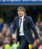 Chelsea manager Antonio Conte during the Premier League match between Chelsea and Watford at Stamford Bridge, London, England on 21 October 2017. Photo by Andy Rowland.