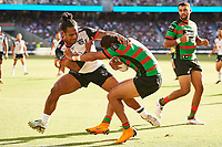 Solomone Kata of the NZ Warriors tackles Dane Gagai of the South Sydney Rabiitohs, Rabbitohs v Vodafone Warriors, NRL rugby league premiership. Optus Stadium, Perth, Western Australia. 10 March 2018. Copyright Image: Daniel Carson / www.photosport.nz