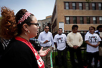 Newark, USA. 07th May 2014. A immigrant organization worker attend  a protest calling for end to deportations outside a detention center office in New Jersey. Kena Betancur/VIEWpress
