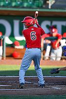 Franklin Torres (6) of the Orem Owlz at bat against the Ogden Raptors in Pioneer League action at Lindquist Field on June 27, 2016 in Ogden, Utah. Orem defeated Ogden 4-3. (Stephen Smith/Four Seam Images)