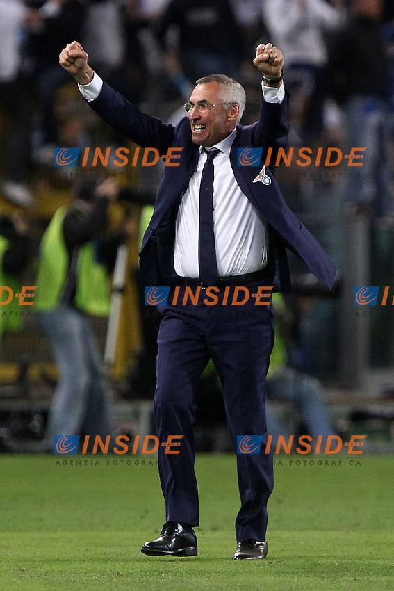 """Esultanza di Edy Reja Lazio.Celebration.Roma 13/05/2012 Stadio """"Olimpico"""".Football / Calcio Serie A 2011/12 AS Roma vs Inter.Foto Insidefoto Paolo Nucci."""