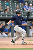 Left fielder Dalton Blaser (8) of the Charleston RiverDogs bats in a game against the Columbia Fireflies on Monday, August 7, 2017, at Spirit Communications Park in Columbia, South Carolina. Columbia won, 6-4. (Tom Priddy/Four Seam Images)