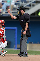 Umpire D.J. Jones during a game between the Batavia Muckdogs and Mahoning Valley Scrappers on September 1, 2013 at Dwyer Stadium in Batavia, New York.  Mahoning Valley defeated Batavia 6-0.  (Mike Janes/Four Seam Images)