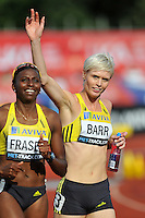 Photo: Tony Oudot/Richard Lane Photography..Aviva London Grand Prix. 24/07/2009. .women's 400m B Final. .Donna Fraser and winner Vicky Barr.