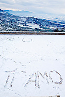 'Ti Amo' I love you, written in the snow, Trevi, in the Spoleto Valley, Umbria, Italy