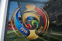 Photo before the match Argentina vs Chile, Corresponding Group -D- America Cup Centenary 2016, at Levis Stadium<br /> <br /> Foto previo al partido Argentina vs Chile, Correspondiante al Grupo -D-  de la Copa America Centenario USA 2016 en el Estadio Levis, en la foto: Detalle de escudo oficial de Copa AMerica<br /> <br /> <br /> 06/06/2016/MEXSPORT/David Leah.