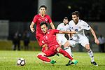 Lo Kwan Yee of Hong Kong (R) Ahmad Sameer Saleh of Jordan (R) during the International Friendly match between Hong Kong and Jordan at Mongkok Stadium on June 7, 2017 in Hong Kong, China. Photo by Cris Wong / Power Sport Images