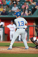 Chris Carrier (13) of the South Bend Cubs at bat against the Lansing Lugnuts at Cooley Law School Stadium on June 15, 2018 in Lansing, Michigan. The Lugnuts defeated the Cubs 6-4.  (Brian Westerholt/Four Seam Images)