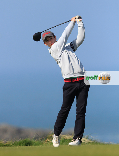 Sean Desmond (Monkstown) during Round 1 of the 54 hole Stroke Play on April 10th  2015 for the 2015 Munster Youths' Open Championship, Tralee Golf Club, Tralee, Co.Kerry Ireland.<br /> Picture: Thos Caffrey / Golffile