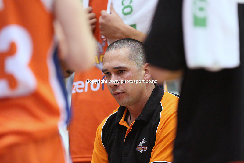 Coach of the Sharks Paul Henare in the NBL national basketball league, Zero Fees Southland Sharks v Advice First Waikato Pistons, Stadium Southland Velodrome, Invercargill, New Zealand, Saturday, May 11, 2013. Photo:  Dianne Manson / photosport.co.nz