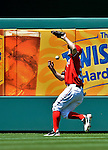 20 May 2012: Washington Nationals outfielder Bryce Harper drops a fly ball during a game against the Baltimore Orioles at Nationals Park in Washington, DC. The Nationals defeated the Orioles 9-3 to salvage the third game of their 3-game series. Mandatory Credit: Ed Wolfstein Photo