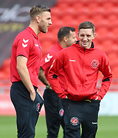 Fleetwood Town's Ashley Hunter is all smiles before kick off<br /> <br /> Photographer David Shipman/CameraSport<br /> <br /> The EFL Sky Bet League One - Doncaster Rovers v Fleetwood Town - Saturday 17th August 2019  - Keepmoat Stadium - Doncaster<br /> <br /> World Copyright © 2019 CameraSport. All rights reserved. 43 Linden Ave. Countesthorpe. Leicester. England. LE8 5PG - Tel: +44 (0) 116 277 4147 - admin@camerasport.com - www.camerasport.com