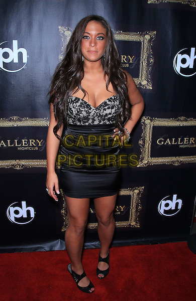 "Sammi ""Sweetheart"" Giancola.kicks off Labor Day Weekend at Gallery Nightclub inside Planet Hollywood Resort and Casino, Las Vegas, NV, USA, 2nd September 2011..full length lace strapless corset bustier dress hand on hip peep toe shoes .CAP/ADM/MJT.© MJT/AdMedia/Capital Pictures."