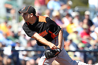 Baltimore Orioles pitcher Brad Bergesen #35 delivers a pitch during a spring training game against the Tampa Bay Rays at the Charlotte County Sports Park on March 5, 2012 in Port Charlotte, Florida.  (Mike Janes/Four Seam Images)