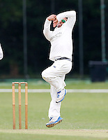 Vinay Shah bowls for Wembley during the Middlesex Cricket League Division Two game between Brondesbury and Wembley at Harman Drive, London on Sat Aug 1, 2015