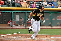 Ryan Wheeler (36) of the Salt Lake Bees at bat against the El Paso Chihuahuas in Pacific Coast League action at Smith's Ballpark on August 7, 2014 in Salt Lake City, Utah.  (Stephen Smith/Four Seam Images)