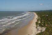 Bahia State, Brazil. Serra Grande beach (Praia da Pe, Pe de Serra Grande). sunny, sandy beach lined with palm trees.