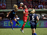 Portland, OR - Saturday July 15, 2017: Christine Sinclair, Mccall Zerboni during a regular season National Women's Soccer League (NWSL) match between the Portland Thorns FC and the North Carolina Courage at Providence Park.