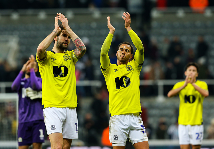 Blackburn Rovers' Charlie Mulgrew and Elliott Bennett applaud the fans after the match<br /> <br /> Photographer Alex Dodd/CameraSport<br /> <br /> Emirates FA Cup Third Round - Newcastle United v Blackburn Rovers - Saturday 5th January 2019 - St James' Park - Newcastle<br />  <br /> World Copyright © 2019 CameraSport. All rights reserved. 43 Linden Ave. Countesthorpe. Leicester. England. LE8 5PG - Tel: +44 (0) 116 277 4147 - admin@camerasport.com - www.camerasport.com
