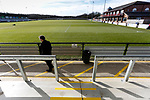 View from The Tin Shed Stand at Blackwell Meadows. Darlington 1883 v Southport, National League North, 16th February 2019. The reborn Darlington 1883 share a ground with the town's Rugby Union club. <br /> After several years of relegations, bankruptcies, and ground moves, the club is fan owned, and back on an even keel in the National League North.<br /> A 0-0 draw with Southport was marred by a broken leg and dislocated knee suffered by Sam Muggleton, Darlington's on loan left back.<br /> Both teams finished the season in lower mid table.