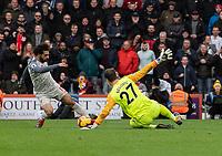 Liverpool's Mohamed Salah (left) battles past Bournemouth's Asmir Begovic scores his side's fourth goal  <br /> <br /> Photographer David Horton/CameraSport<br /> <br /> The Premier League - Bournemouth v Liverpool - Saturday 8th December 2018 - Vitality Stadium - Bournemouth<br /> <br /> World Copyright © 2018 CameraSport. All rights reserved. 43 Linden Ave. Countesthorpe. Leicester. England. LE8 5PG - Tel: +44 (0) 116 277 4147 - admin@camerasport.com - www.camerasport.com