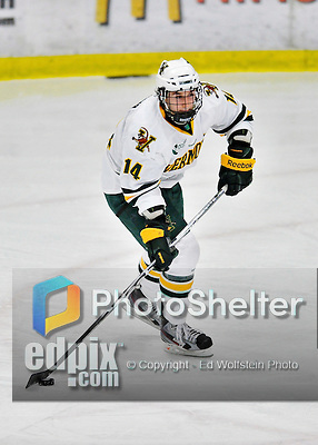 10 February 2012: University of Vermont Catamount forward Anthony DeCenzo, a Sophomore from Hibbing, MN, in action against the Boston College Eagles at Gutterson Fieldhouse in Burlington, Vermont. The Eagles defeated the Catamounts 6-1 in their Hockey East matchup. Mandatory Credit: Ed Wolfstein Photo