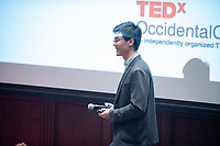 "Yinbo Gao '18 talks about ""How To Build a Startup that Deems to Fail and Why.""<br /> Occidental College hosts TEDxOccidentalCollege on April 21, 2018 in Choi Auditorium of Johnson Hall. Students, faculty, alums and guest speakers delivered their TEDx Talk on the theme, Shifting Ecosystems of Power.<br /> (Photo by Marc Campos, Occidental College Photographer)"
