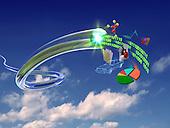 Information flowing through fiber optics pipe