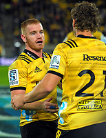 Jamie Booth is substituted by Richard Judd during the Super Rugby match between the Hurricanes and Chiefs at Westpac Stadium in Wellington, New Zealand on Friday, 13 April 2018. Photo: Dave Lintott / lintottphoto.co.nz