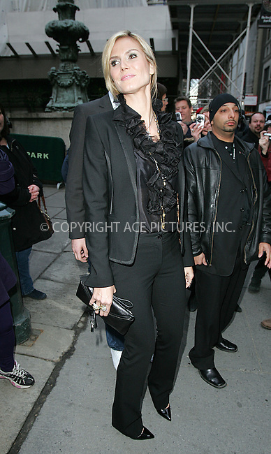 WWW.ACEPIXS.COM . . . . .  ....February 15 2009, New York City....Heidi Klum arriving at Mercedes Benz New York Fall Fashion week 2009 at the Tents in Bryant Park....Please byline: DAVID MURPHY- ACEPIXS.COM.... *** ***..Ace Pictures, Inc:  ..tel: (212) 243 8787..e-mail: info@acepixs.com..web: http://www.acepixs.com