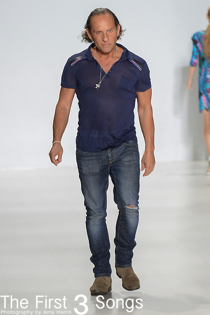 Designer Custo Dalmau walks the runway at the Custo Barcelona fashion show during Mercedes-Benz Fashion Week Spring 2015 at The Salon at Lincoln Center on September 7, 2014 in New York City.
