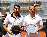 Nenad Zimonjic and  Michael Llodra during ATP Doubles Final at Madrid Mutua Madrilena Tennis Open on May 8, 2011...Photo: Alex Cid-Fuentes / ALFAQUI..