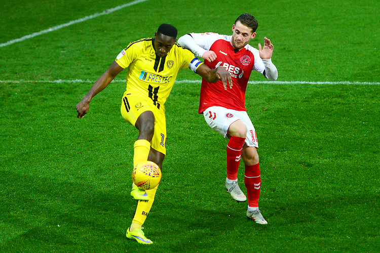Fleetwood Town's Conor McAleny vies for possession with Burton Albion's Lucas Akins<br /> <br /> Photographer Richard Martin-Roberts/CameraSport<br /> <br /> The EFL Sky Bet League One - Saturday 15th December 2018 - Fleetwood Town v Burton Albion - Highbury Stadium - Fleetwood<br /> <br /> World Copyright © 2018 CameraSport. All rights reserved. 43 Linden Ave. Countesthorpe. Leicester. England. LE8 5PG - Tel: +44 (0) 116 277 4147 - admin@camerasport.com - www.camerasport.com
