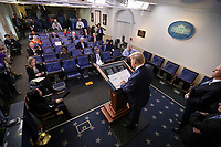 United States President Donald J. Trump speaks during a press conference with members of the coronavirus task force in the Brady Press Briefing Room of the White House on March 24, 2020 in Washington, DC.<br /> Credit: Oliver Contreras / Pool via CNP/AdMedia
