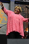 May 2, 2019 New Orleans La: Singer Mavis Staples performs in the Blues Tent at the 50th anniversary of the New Orleans Jazz & Heritage Festival on May 2, 2019 in New Olreans, La.