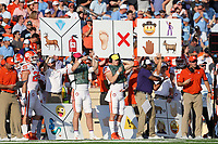 CHAPEL HILL, NC - SEPTEMBER 28: Clemson University play calling cards on the sideline during a game between Clemson University and University of North Carolina at Kenan Memorial Stadium on September 28, 2019 in Chapel Hill, North Carolina.