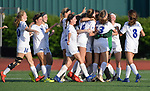 Notre Dame players run onto the field to celebrate their 4-0 win over Rosati-Kain in the Class 2 girls quarterfinal game played at St. Louis University High School in St. Louis, MO on Wednesday May 22, 2019.<br />Tim Vizer/Special to Southeast Missourian