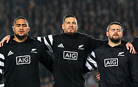 Ofa Tuungafasi, Sonny Bill Williams and Dane Coles line up before the Bledisloe Cup Rugby match between the New Zealand All Blacks and Australia Wallabies at Eden Park in Auckland, New Zealand on Saturday, 17 August 2019. Photo: Simon Watts / lintottphoto.co.nz